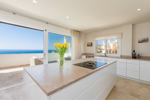 High quality kitchen with sea views