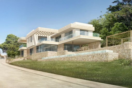 Modern, newly-built, beach-house style villa with sea views in Santa Ponsa