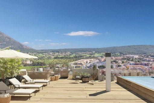 Modern penthouse apartment in a newly-built residential complex with superb sweeping views in Santa Ponsa