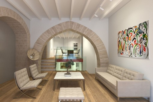 Unique ground floor apartment with 3 levels in an historic, newly-built project in the centre of Palma's old town